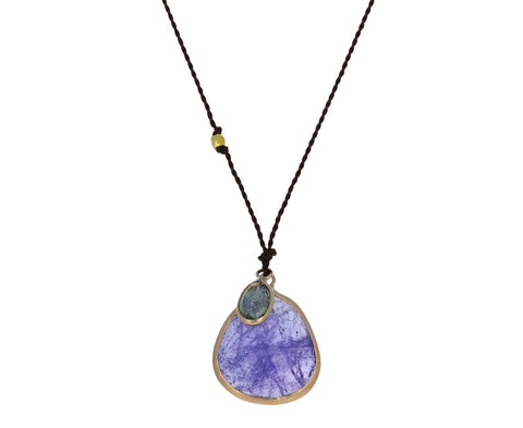 Tanzanite and Pale Blue Sapphire Pendant Necklace
