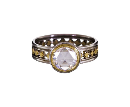 Rose Cut Diamond Solitaire on Platinum and Gold Band - TWISTonline