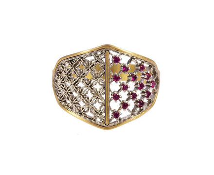 Two Pattern Ring with Rubies - TWISTonline