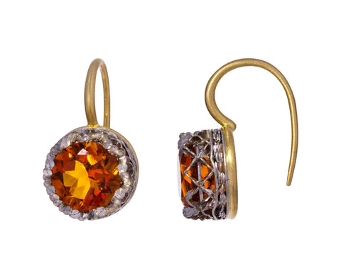 Round Citrine Lacy Earrings - TWISTonline