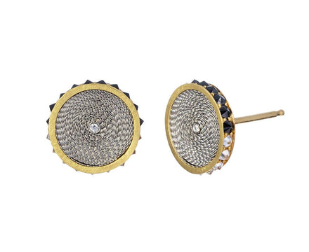 Black and White Inverted Diamond Edge Disc Earrings - TWISTonline