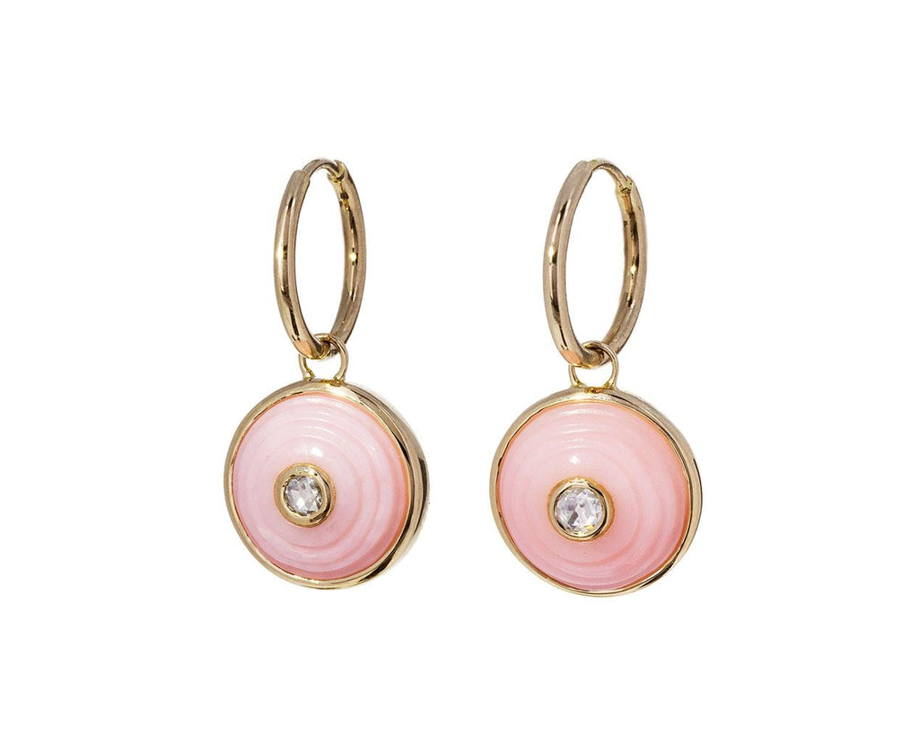 Pink Opal and Diamond Akasha Inle Earrings - TWISTonline