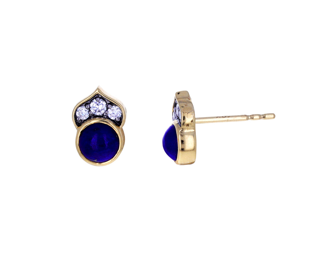 Lapis and Diamond Kamala Earrings