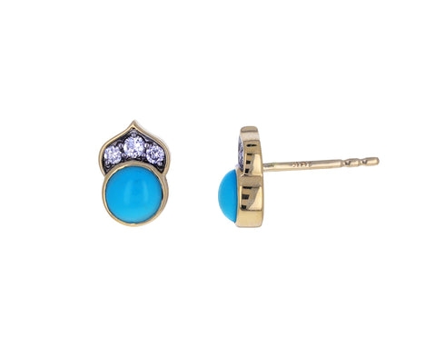 Turquoise and Diamond Kamala Earrings