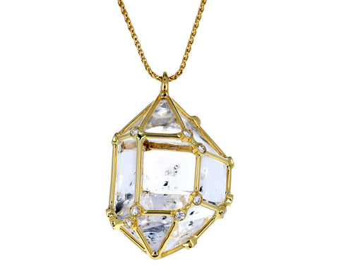 Large Herkimer Diamond Pendant Necklace