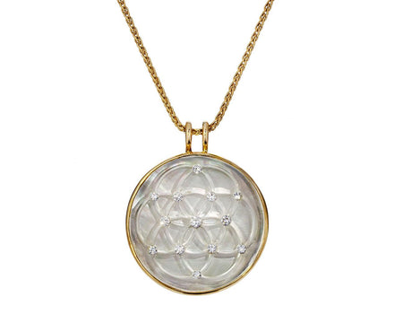 Crystal and Mother-of-Pearl Flower of Life Amulet - TWISTonline