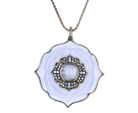 Nirvana Chalcedony and Diamond Pendant Necklace