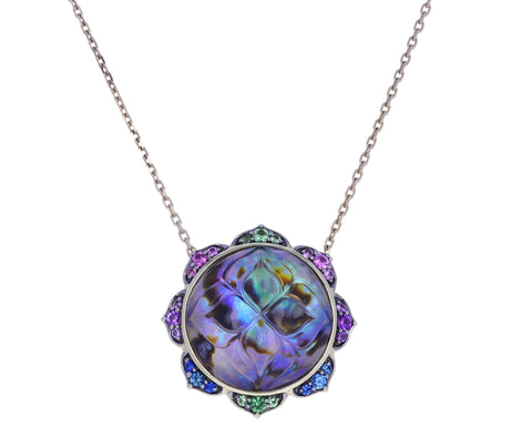Abalone and Rainbow Gem Madhya Necklace
