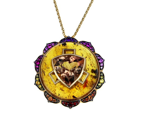Manipura Amber Pendant Necklace