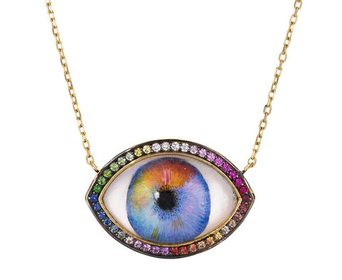 Rainbow and Multi Gem Eye Necklace zoom 1_noor_fares_personalized_eye_necklace