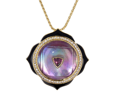 Crystal Rhodolite and Diamond Muladhara Pendant Necklace zoom 1_noor_fares_gold_crystal_muladahara_necklace