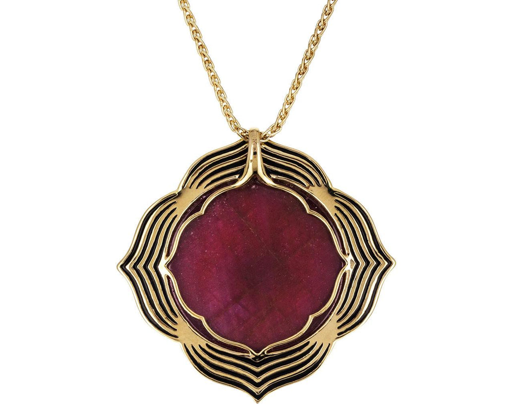 Crystal Rhodolite and Diamond Muladhara Pendant Necklace - TWISTonline