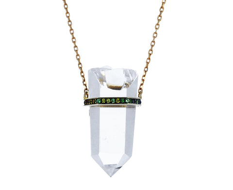 Crystal and Rainbow Sapphire Pendant Necklace