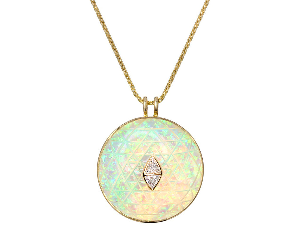 Opal and Mother-of-Pearl Sri Yantra Amulet