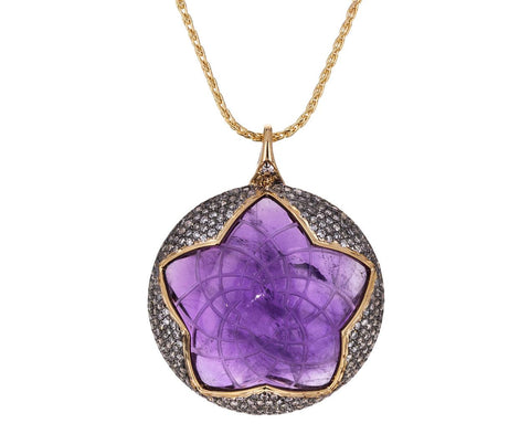 Sahasrara Amethyst and Diamond Pendant Necklace - TWISTonline
