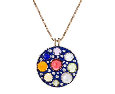 Navratna Upratna Blue Enamel and Multi-Gem Amulet Necklace - TWISTonline