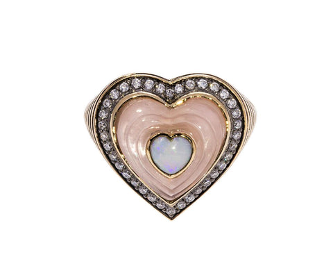 Rose Quartz Opal and Diamond Anahata Ring zoom 1_noor_fares_gold_heart_anahata_ring