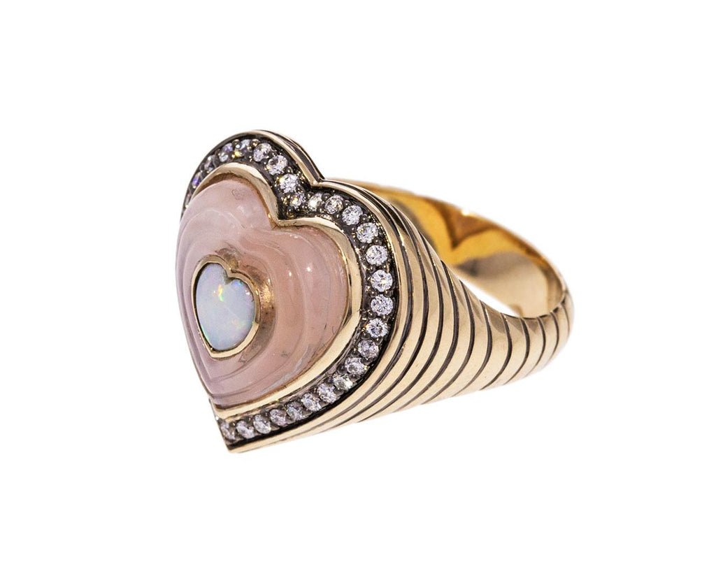 Rose Quartz Opal and Diamond Anahata Ring - TWISTonline