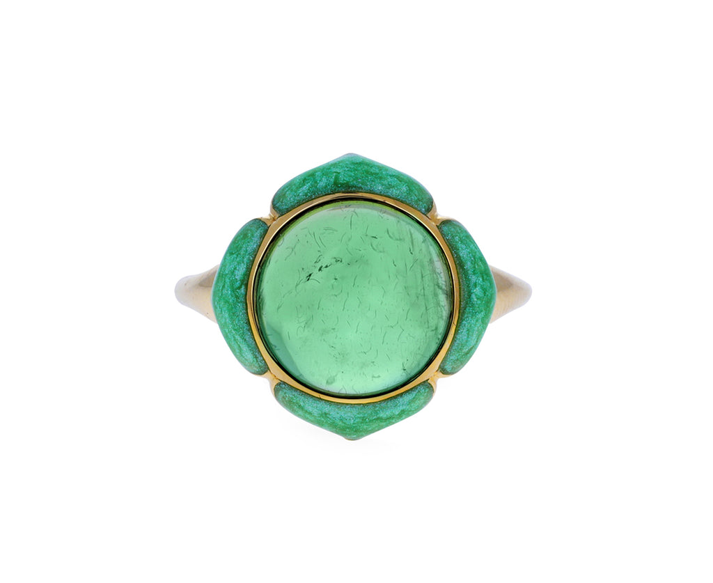 Green Tourmaline and Enamel Nirvana Ring
