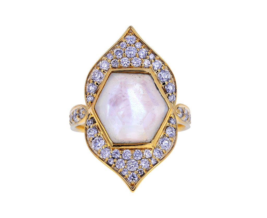 Mother of Pearl and Diamond Samsara Ring
