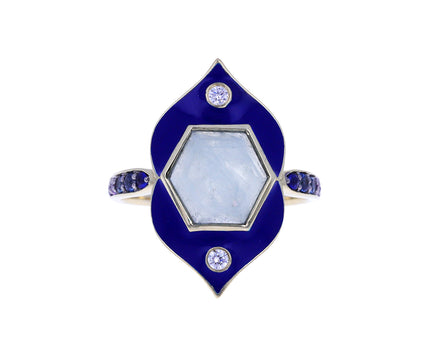 Aquamarine and Blue Enamel Samsara Ring