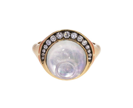 Crystal Labradorite Diamond Svadhisthana Ring - TWISTonline
