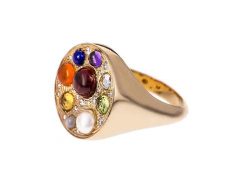 Navratna Upratna Multi-Gem Seal Ring - TWISTonline