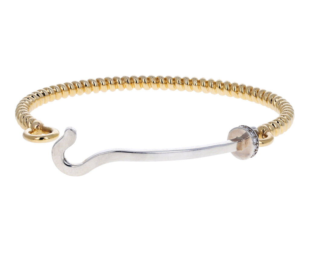Gold, Silver and Diamond Hook Twist Cuff