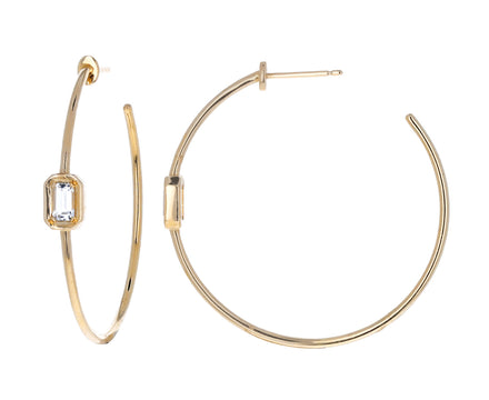Simple White Topaz and Gold Hoops