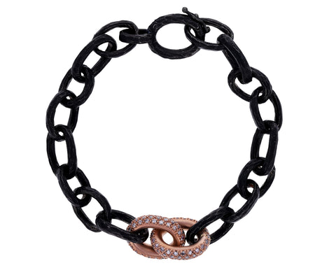 Oxidized Silver and Pavé Rose Gold Link Bracelet