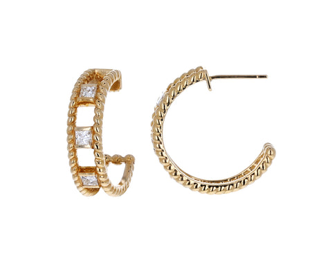 Gold Princess Diamond Hoops Earrings