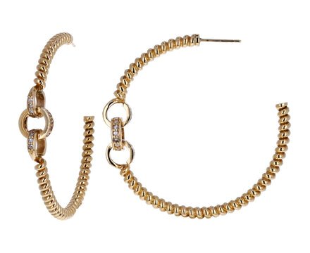 Diamond and Gold Twisted Link Hoops