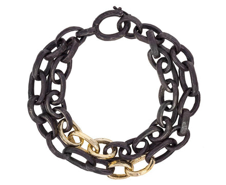 Oxidized Silver and Gold Double Link Bracelet - TWISTonline