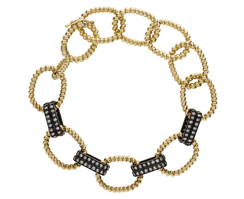 Twisted Link Diamond Chain Bracelet - TWISTonline