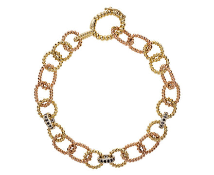 Yellow and Rose Gold Twisted Link Bracelet with Black Diamonds - TWISTonline