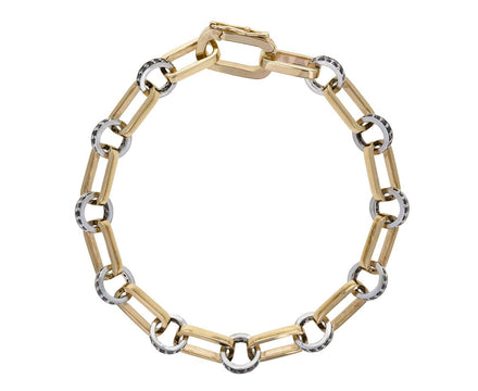Gold and Silver Link Black Diamond Bracelet - TWISTonline