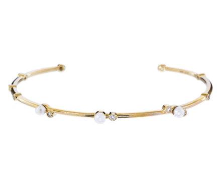 Diamond and Pearl Cuff Bracelet - TWISTonline