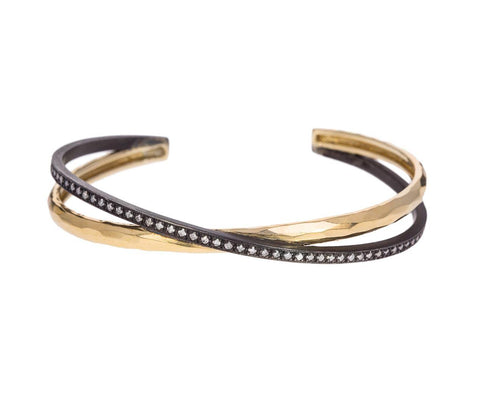 Double Gold and Silver Diamond Crossover Cuff - TWISTonline