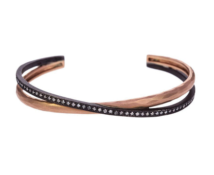 Double Rose Gold and Silver Diamond Crossover Cuff - TWISTonline