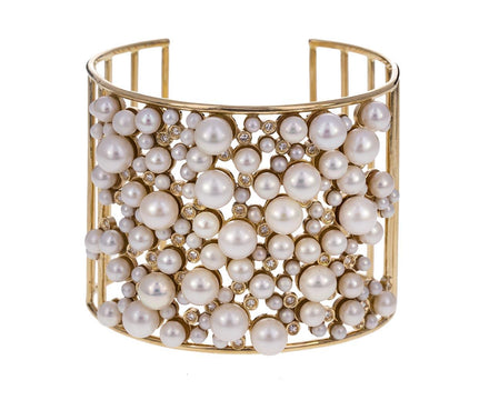 Pearl and Diamond Cluster Cuff - TWISTonline