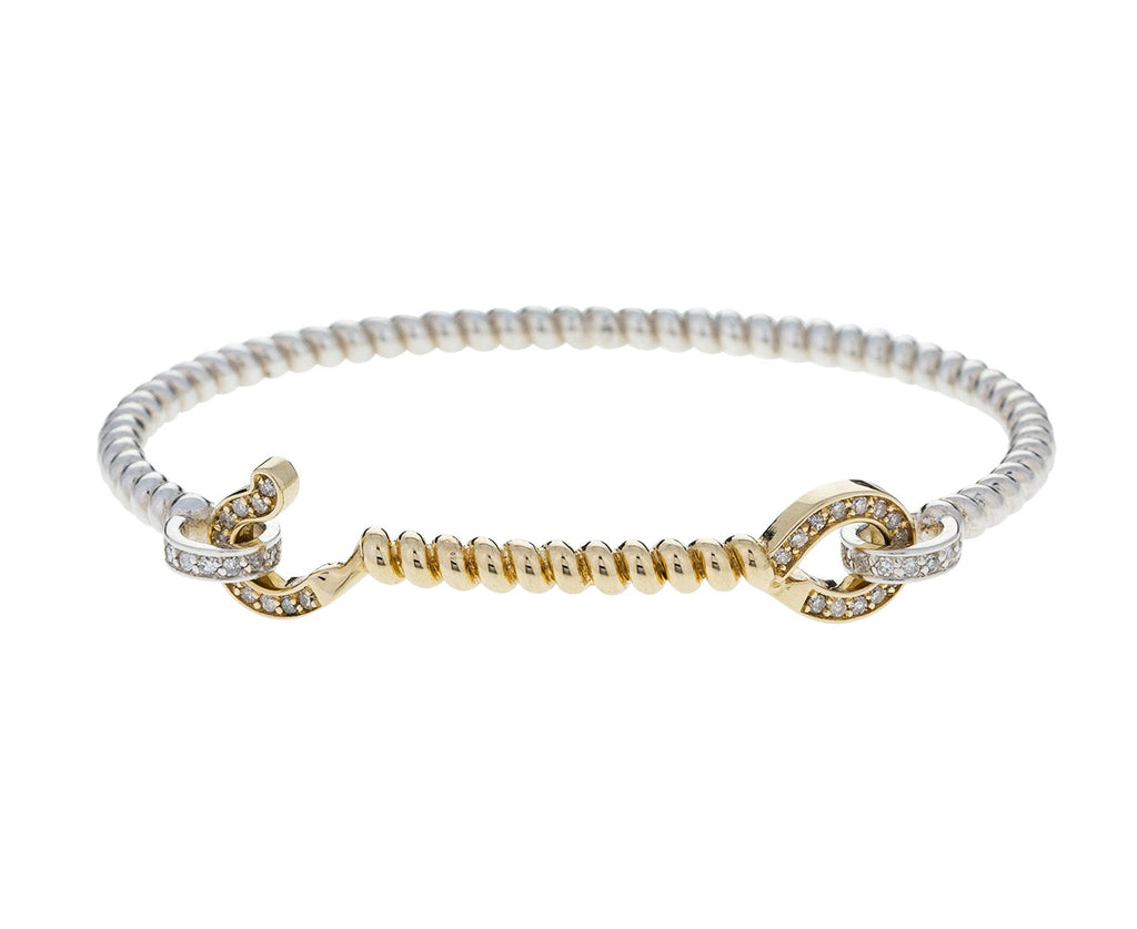 Diamond, Silver and Gold Twisted Cuff Bracelet - TWISTonline
