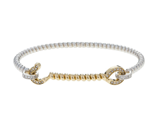 Diamond, Silver and Gold Twisted Cuff Bracelet