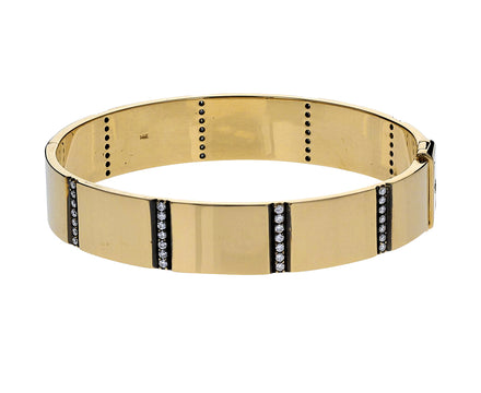 Gold and Diamond Line Bangle Bracelet