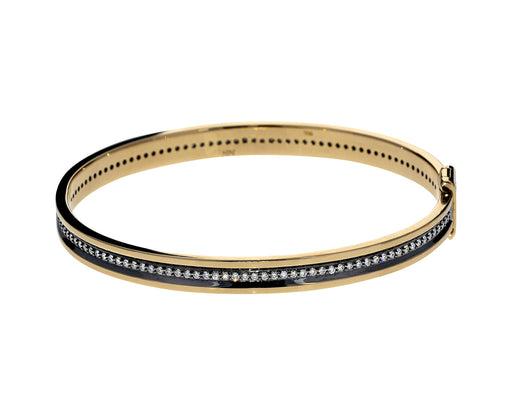 Gold and Diamond Line Bangle