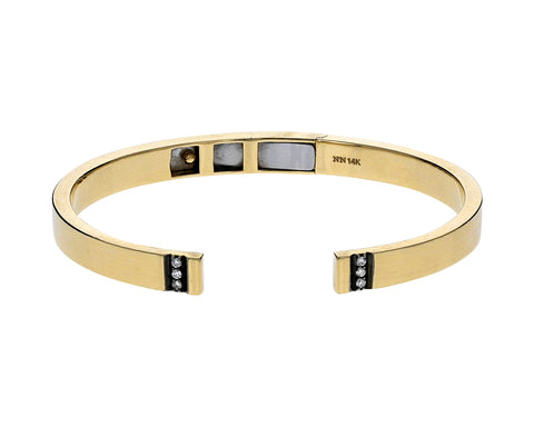 Gold and Diamond Open Hinge Cuff