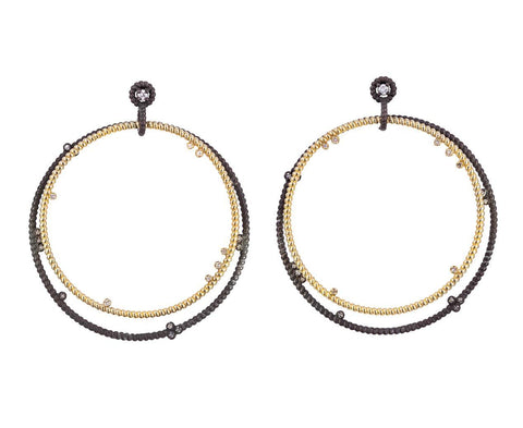 Gold and Oxidized Silver Floating Diamond Hoops - TWISTonline