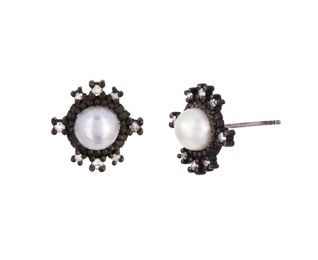 Pearl and Diamond Post Earrings - TWISTonline