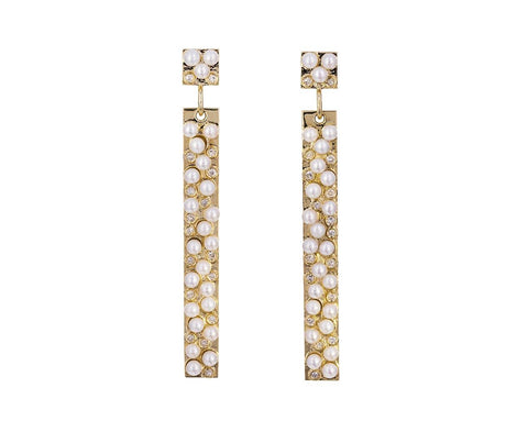 Pearl and Diamond Stick Earrings - TWISTonline
