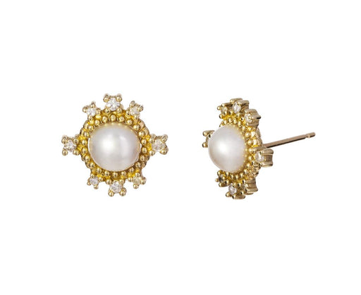 Pearl and Floating Diamond Earrings - TWISTonline