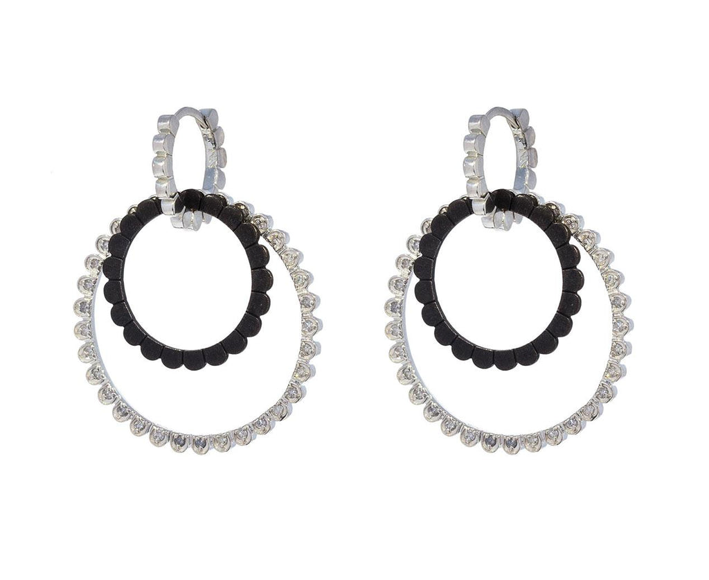 Double Loop Daisy Huggie Hoop Earrings zoom 1_nancy_newberg_silver_diamond_circle_daisy_earrin